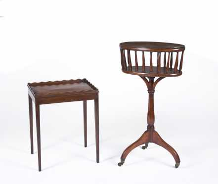English Regency Mahogany Sewing Stand and Low Table
