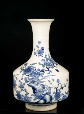Chinese Blue and White Tall Neck Vase