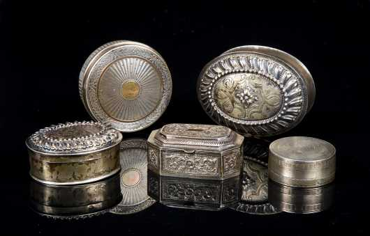 Five Continental Silver Boxes
