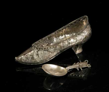 Continental Style Silver Women's Shoe and Spoon
