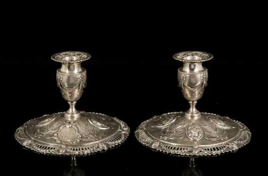 Pair of Adam English Silver Candlesticks