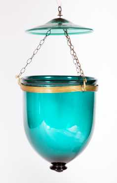 19thC Blown Green Glass Hanging Lamp