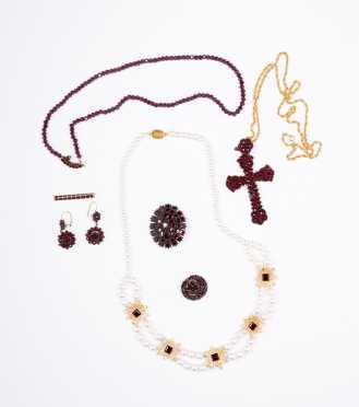 Group of Garnet and Red Glass Jewelry,