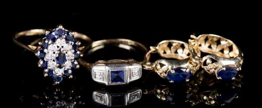 Diamond, Sapphire, and Yellow Gold Lot