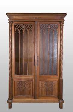 Gothic Revival Carved Walnut Armoire