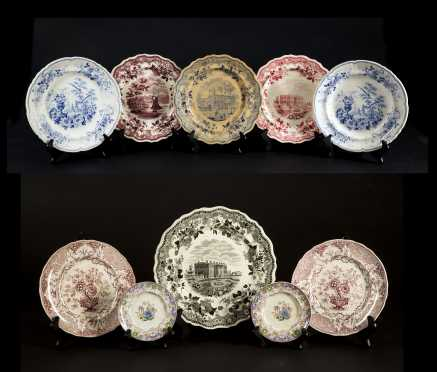 Lot of Colored Staffordshire Ten Plates