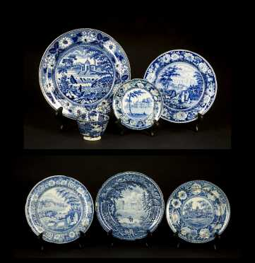 Seven Pieces of Historical Blue Staffordshire
