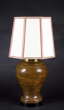 20thC Pottery Lamp with Custom Silk Shade