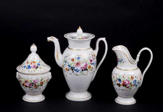 """Tucker"" Porcelain Three Piece Tea Set"
