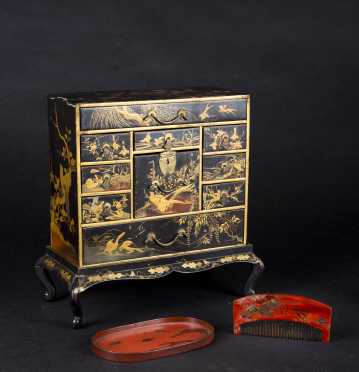 Japanese Lacquerware Jewelry Case on Frame and Comb Set