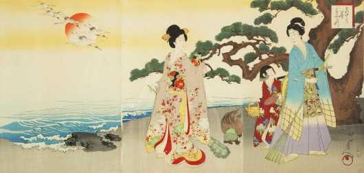 """""""Chikanobu"""" Japanese Triptych Block Print"""