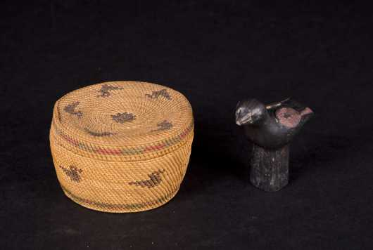 Native American Basket and Pottery Bird