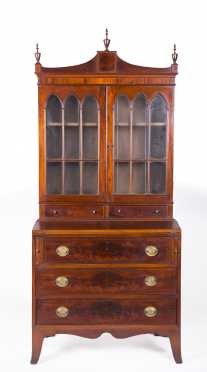 Hepplewhite Style Mahogany Two Part Secretary