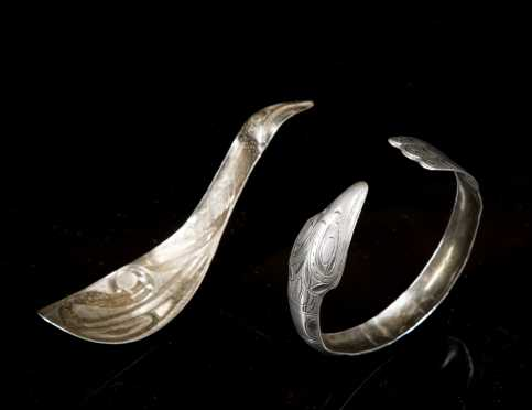 Two Northwest Coast Coin Silver Items, Bracelet and Spoon **AVAILABLE FOR $350**