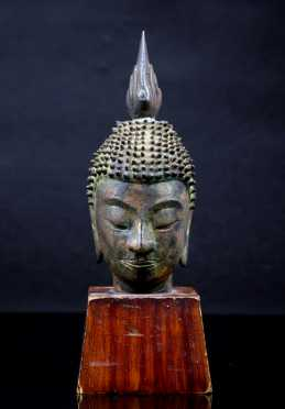 Early Thai Bronze Buddha Head **AVAILABLE FOR $400.00**