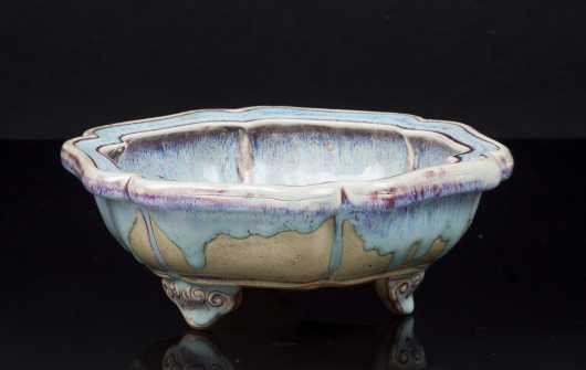 Chinese Flambe Drip Glaze Shaped Bowl