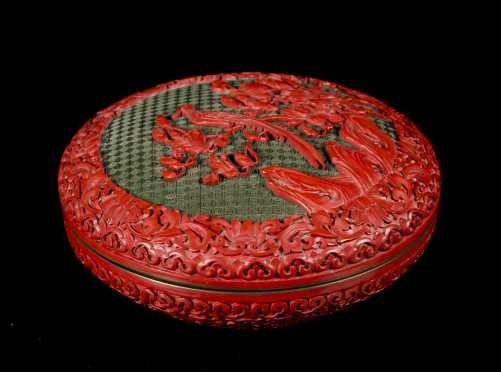 Chinese Round Carved Cinnabar Box