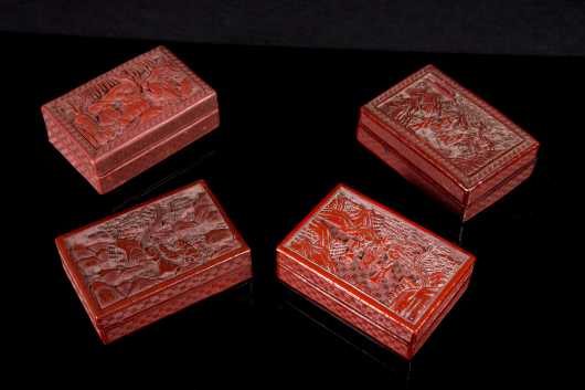 Four Chinese Carved Cinnabar Boxes