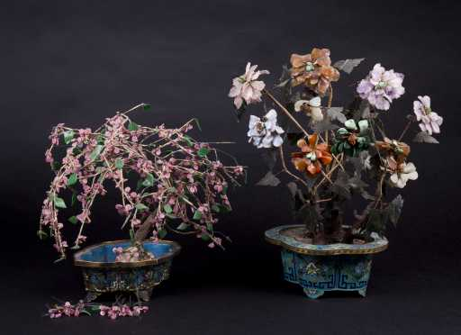 Two Chinese Jade Trees in Cloisonne Bases