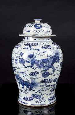 Chinese Quing Republic Blue and White Covered Jar