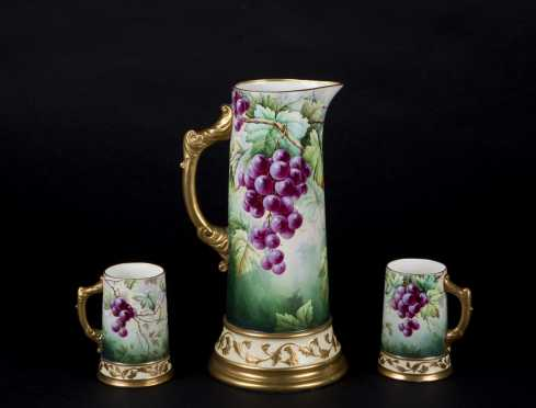 """Willets Belleek"" Pitcher and Two Mugs"