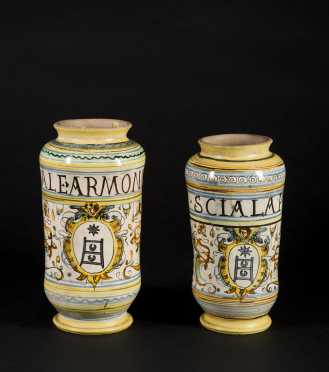 Pair of Early Italian Majolica Drug Jars