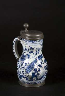 Continental 17thC Blue and White Delft Tankard