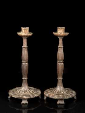 Pair of Regency Carved Wooden Candlesticks