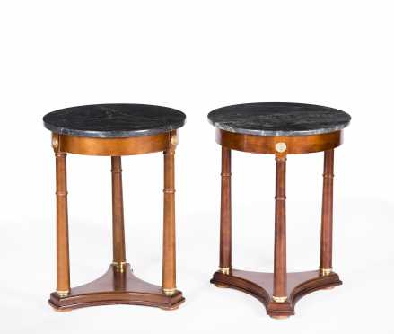 Pair of French Empire Style Marble Top Side Tables