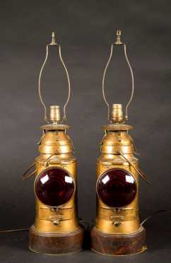 Pair of Railroad Lanterns Made into Lamps