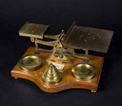 English Oak and Brass Postage Scale