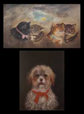 Two American Primitive Cats and Dog Paintings