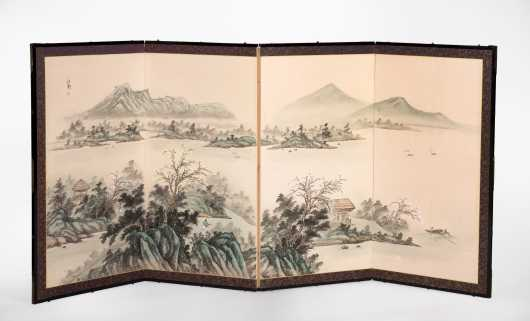 Chinese Four Section Folding Screen