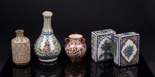 Lot of Five Persian Decorated Items