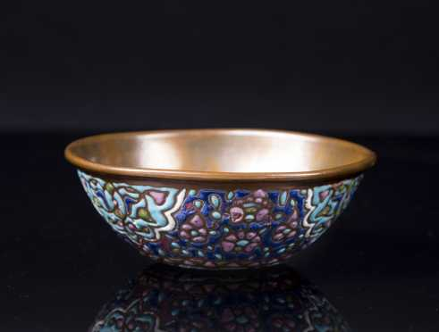 Persian Enamel Decorated Bronze Bowl