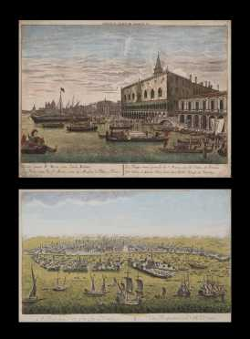 Two Early Colored Views of 18thC Venice, Italy