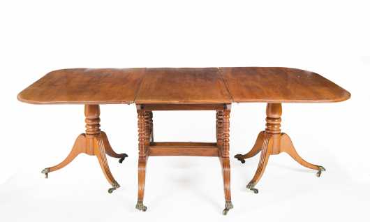English Regency Mahogany Three Part Banquet Table