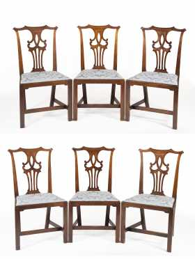 Set of Six English Chippendale Mahogany Side Chairs