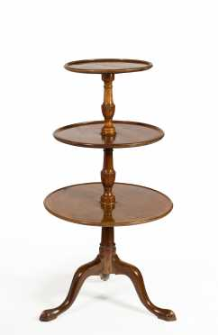 English Queen Anne Mahogany Three Tier Dumbwaiter