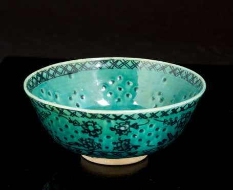 Persian 19thC Green Glazed Bowl