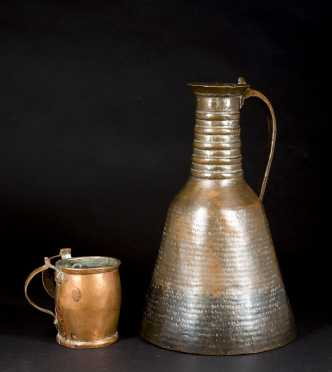 Persian Ancient Copper Water Jug and Double Handled Mug