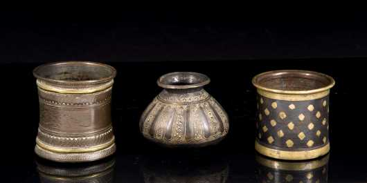 Three Early Persian Mixed Metal Vessels **AVAILABLE FOR $300**