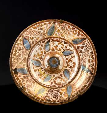 Antique Hispano Moresque Charger in Lustre Glaze