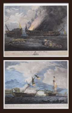 Pair Framed Antique Naval Engagement Aquatints
