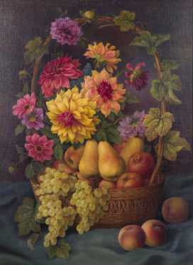 French Still Life Painting of Flowers and Fruit