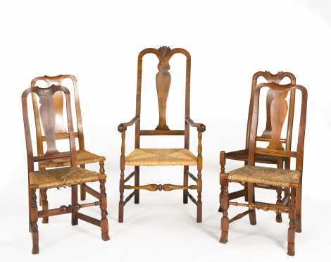Five Queen Anne Rush Seat Chairs