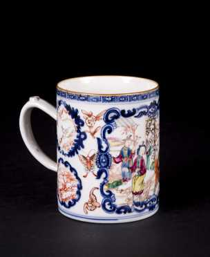 Chinese Export Mandarin Porcelain Handled Mug