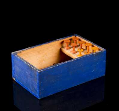 Blue Painted Shaker Box with Eight Thread Spools