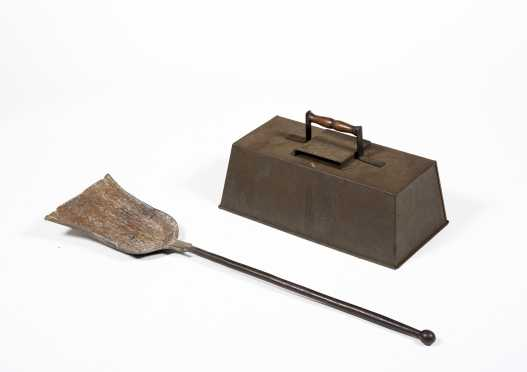 Shaker Tin Warming Oven and Wrought Iron Shovel