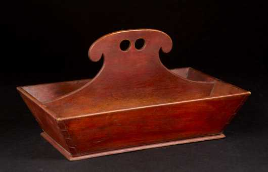 Shaker Red Stained Utensil Carrier/Knife Box